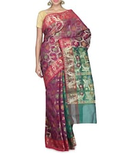 Wine Banarasi Chanderi Silk Saree - By