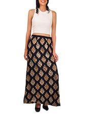 Navy Blue Zari Embroidered Long Skirt - By