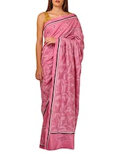 Embroidered Pink Pure Tussar Silk Saree - By