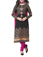 Black And Pink Embroidered Suit Set - By