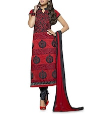 Red And Black Embroidered Suit Set - By