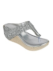 silver embellished wedge -  online shopping for wedges
