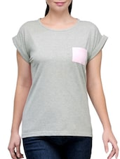 Grey And Pink Cotton T-Shirt - By