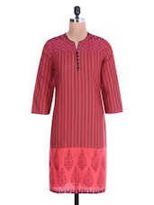 Red Printed Polka Dots Cotton Kurtis - By