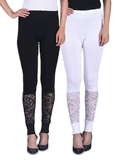 Black And White Viscose Laced Leggings (Set Of 2) - By