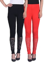 Black And Red Viscose Laced Leggings (Set Of 2) - By