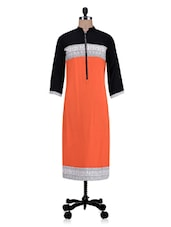 Orange Rayon Printed Kurti - By