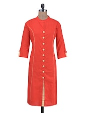 Red Cotton Kurti With Non-functional Buttons - By