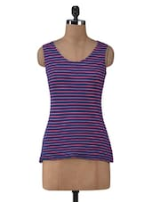 Blue Cotton Lycra Striped  Tank Top - By