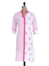 White And Pink Printed Cotton Kurti - By