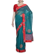 Teal And Red Net Sari - By