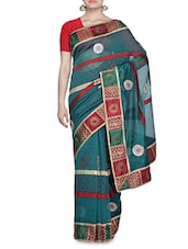 Green And Red Net Sari - By