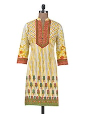 Yellow Printed Cotton Summer Kurta - By