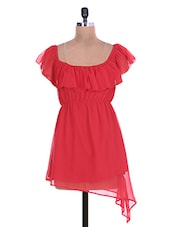 Solid Red Polygeorgette Dress - By