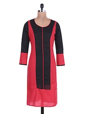 Black And Red Cotton Kurta - By
