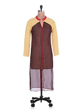 Sheer Brown And Yellow Georgette Kurta - By