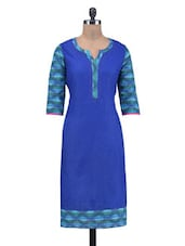 Blue Cotton Jacquard Printed Kurti - By