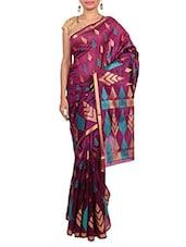 Purple Banarsi Silk Handwoven Brocade Saree - By