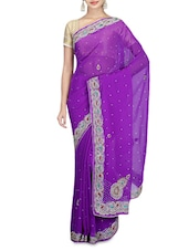 Embellished Purple Chiffon Saree - By