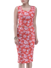 Peach And White Printed Polyester Dress - By
