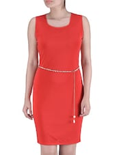 Solid Red Polyester Dress - By