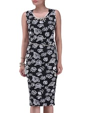 Black And White Printed Polyester Dress - By