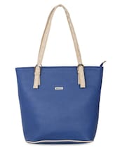 Blue Leatherette Handbag With Buckled Top Handles - By