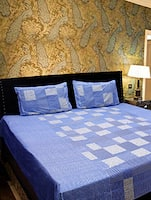 Blue cotton double bedsheet set -  online shopping for bed sheet sets