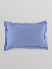 solid stone blue cotton pillow covers set