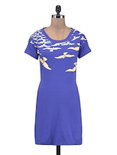 Blue Cotton Knits Printed Dress - By