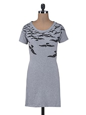 Grey Cotton Knits Printed Dress - By