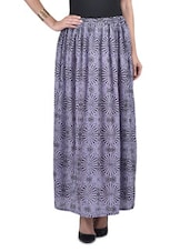 Purple And Black Cotton Printed Maxi Skirt - By