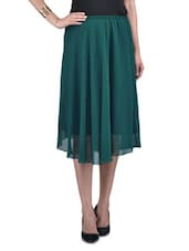 Solid Teal Green Polygeorgette Midi Skirt - By