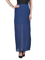 Solid Blue Polygeorgette Maxi Skirt - By