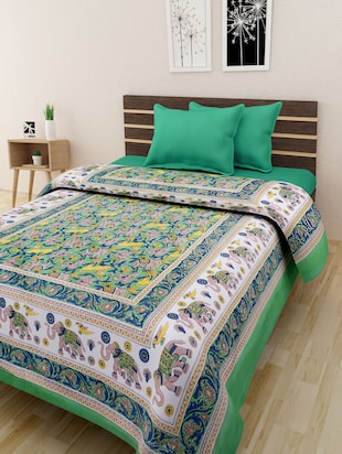 Multicolour Cotton Jaipuri Printed Single Bedsheet