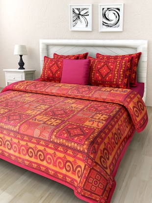Multicolour Cotton Jaipuri Printed Double Bedsheet Set