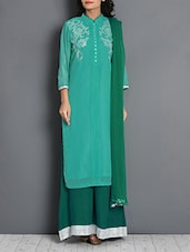 Green And Turquoise Embellished Suit Set - By