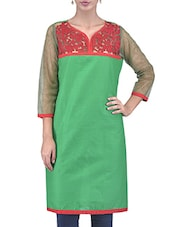 Green Embroidered Cotton Kurti With Net Sleeves - By
