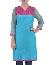 Blue Embroidered Cotton Kurti With Net Sleeves - By