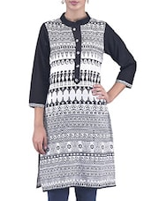 Black And White Aztec Printed Cotton Kurti - By