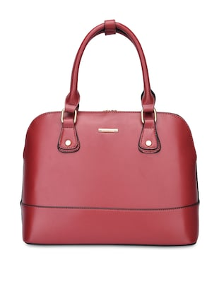 Marsala Leatherette Structured Handbag