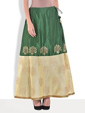 Green Dupion Silk Block Printed Skirt - By