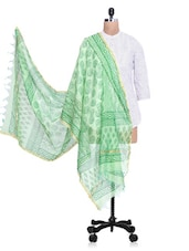 Green Chanderi Silk Zari Printed Dupatta - By - 1274482