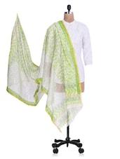Green Chanderi Silk Zari Printed Dupatta - By