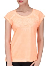 Orange Cotton Embroidered Top - By