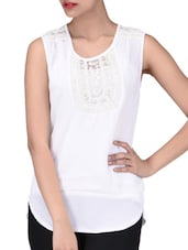 White Poly Georgette Embroidered Sleeveless Top - By