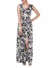 Black Rayon Floral Print Maxi Dress - By