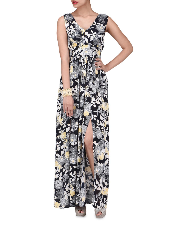 Black Rayon Floral Print Maxi Dress - By