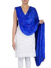 Royal Blue Cotton Bandhani Dupatta - By