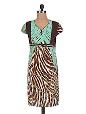 Abstract Printed Mint Green And Brown Cotton Tunic - By